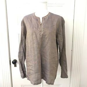 Yvaraj Blue Brown Linen Embroidered Tunic